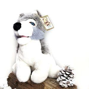 Siberian Huskey Vintage Plush Stuffed Animal Dog
